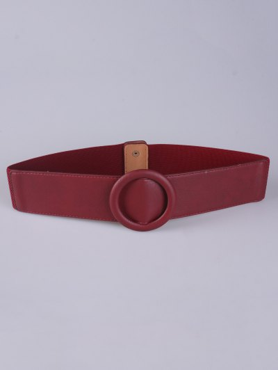 Round Buckle Stretch Belt - RED  Mobile