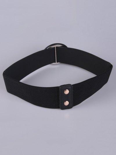 Round Buckle Stretch Belt - BLACK  Mobile