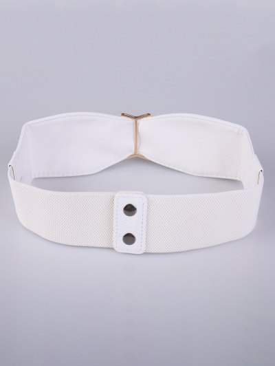 Bowknot Buckle Stretch Belt - WHITE  Mobile