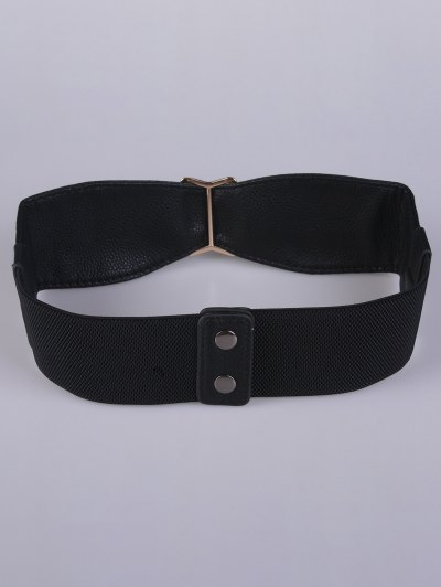 Bowknot Buckle Stretch Belt - BLACK  Mobile