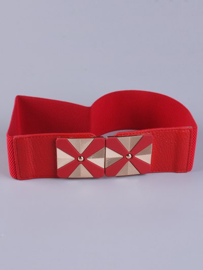 Square Alloy Stretch Belt - RED  Mobile