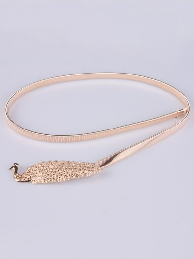 Peacock Alloy Metal Belt - CHAMPAGNE  Mobile