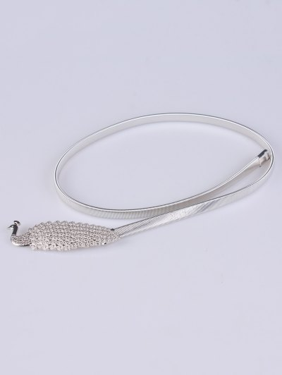 Peacock Alloy Metal Belt - SILVER  Mobile
