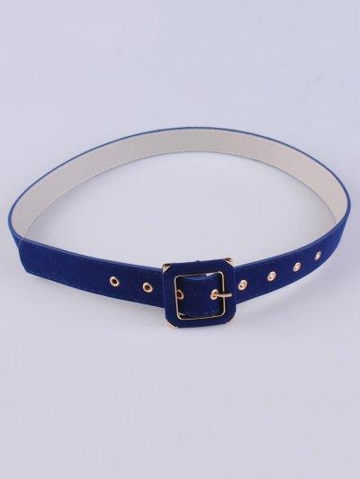 Square Buckle Velvet Belt - BLUE  Mobile
