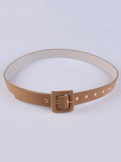 Square Buckle Velvet Belt - CAMEL  Mobile