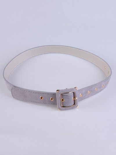 Square Buckle Velvet Belt - GRAY  Mobile