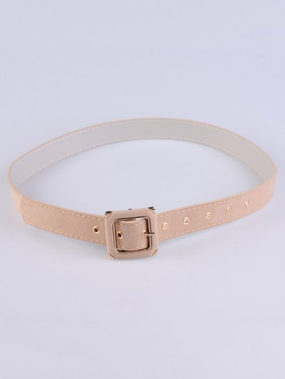 Square Buckle Velvet Belt - LIGHT BEIGE  Mobile