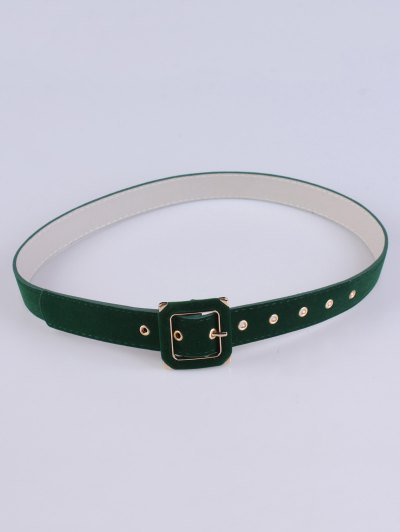 Square Buckle Velvet Belt - GREEN  Mobile