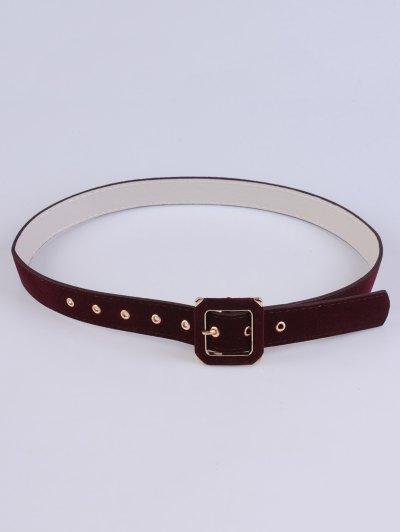 Square Buckle Velvet Belt - WINE RED  Mobile