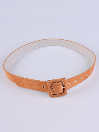 Square Buckle Velvet Belt - KHAKI  Mobile