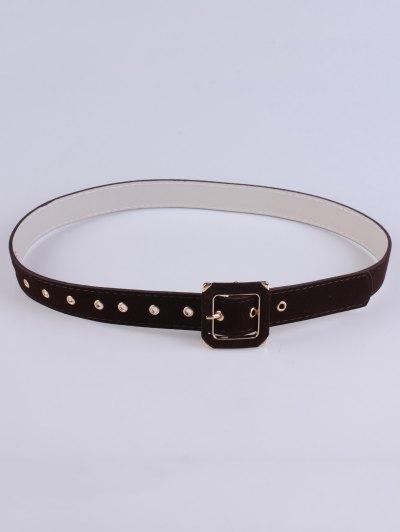 Square Buckle Velvet Belt - MAROON  Mobile