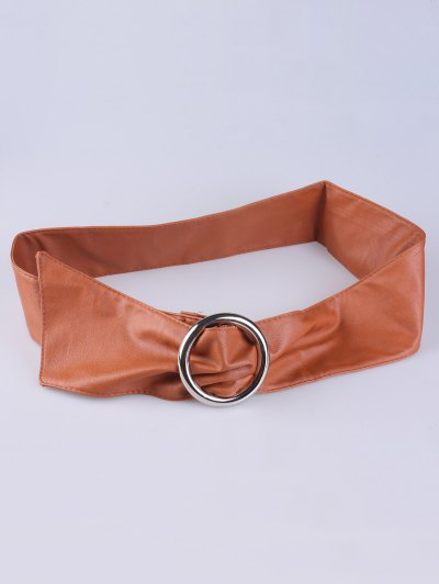 Alloy Ring PU Belt - ANTIQUE BROWN  Mobile