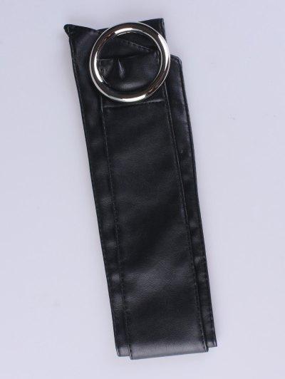 Alloy Ring PU Belt - BLACK  Mobile