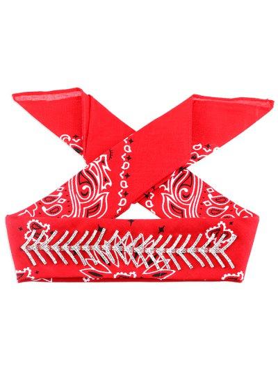 Fishbone Scarf Choker - RED  Mobile