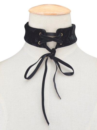 Adjustable Velvet Wide Choker Necklace - BLACK  Mobile