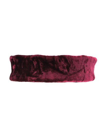 Adjustable Velvet Wide Choker Necklace - BURGUNDY  Mobile