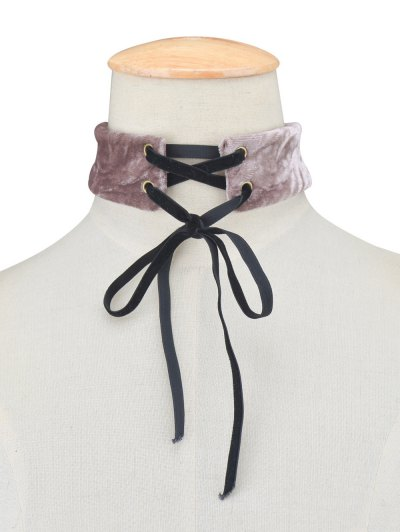 Adjustable Velvet Wide Choker Necklace - PURPLE  Mobile