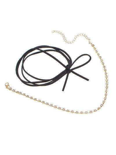 Velvet Bowknot Rhinestone Choker Necklace Set - BLACK  Mobile