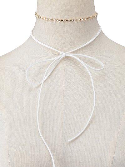 Velvet Bowknot Rhinestone Choker Necklace Set - WHITE  Mobile