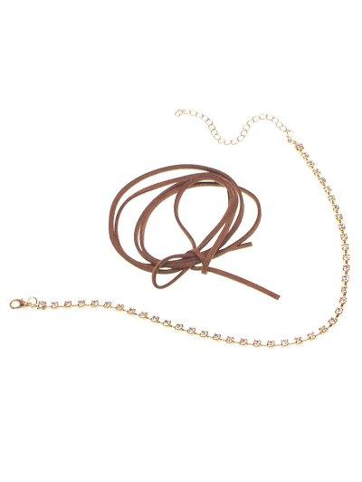 Velvet Bowknot Rhinestone Choker Necklace Set - BROWN  Mobile
