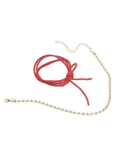 Velvet Bowknot Rhinestone Choker Necklace Set - BURGUNDY  Mobile