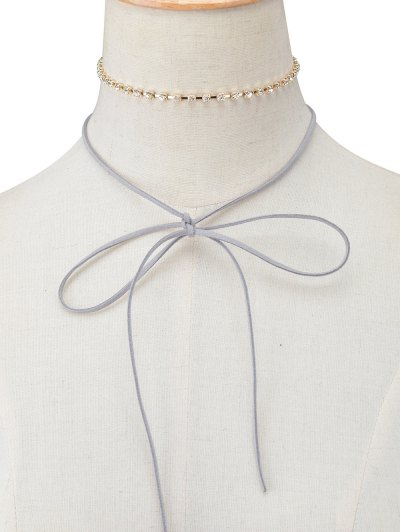 Velvet Bowknot Rhinestone Choker Necklace Set - GRAY  Mobile
