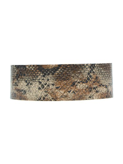 Faux Snakeskin PU Choker Necklace - BROWN  Mobile