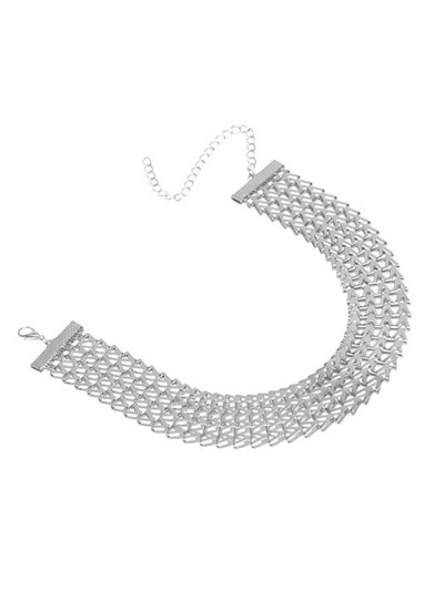 Geometric V Choker Necklace - SILVER  Mobile