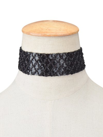 Fish Scales Sequins Choker - BLACK  Mobile