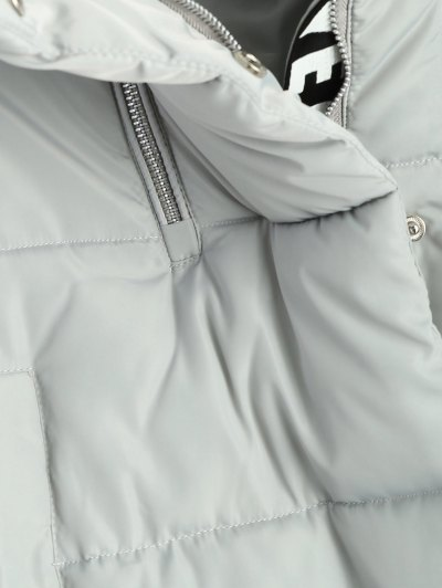 Hooded Quilted Padded Coat - GRAY XL Mobile