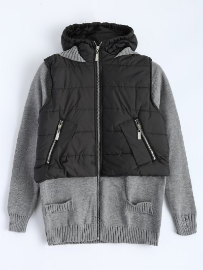 Contrast Knit Quilted Jacket - BLACK AND GREY 2XL Mobile