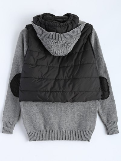 Contrast Knit Quilted Jacket - BLACK AND GREY XL Mobile