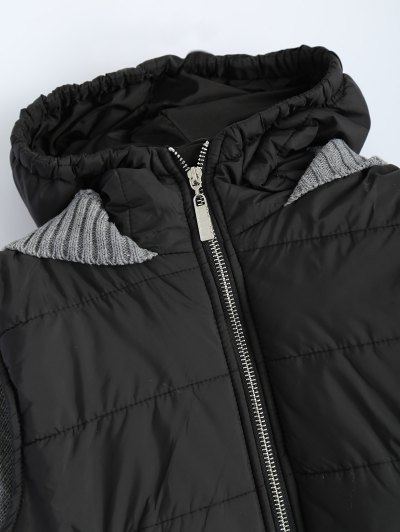 Contrast Knit Quilted Jacket - BLACK AND GREY L Mobile