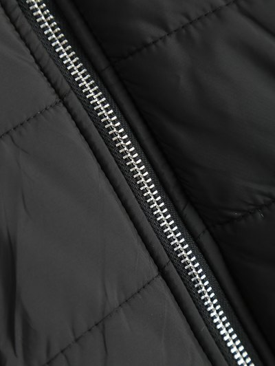 Contrast Knit Quilted Jacket - BLACK AND GREY M Mobile