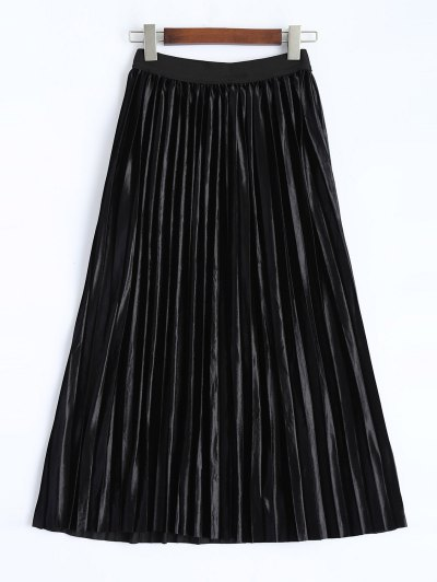 Shiny Pleated Midi Skirt - BLACK L Mobile