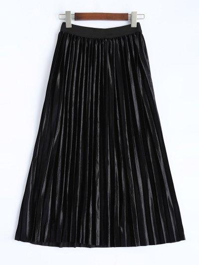 Shiny Pleated Midi Skirt - BLACK M Mobile