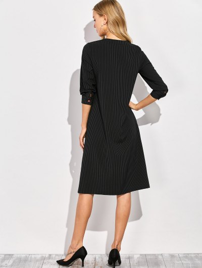 Single-Breasted Striped A-Line Dress - BLACK 2XL Mobile