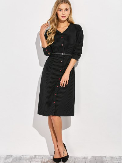 Single-Breasted Striped A-Line Dress - BLACK XL Mobile