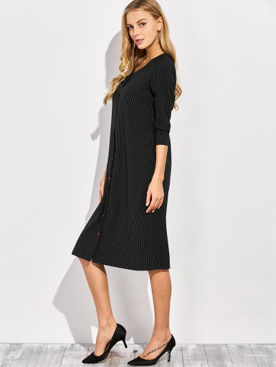 Single-Breasted Striped A-Line Dress - BLACK M Mobile