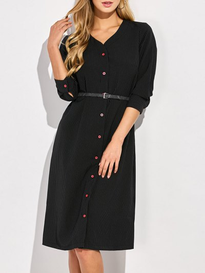 Single-Breasted Striped A-Line Dress - BLACK S Mobile