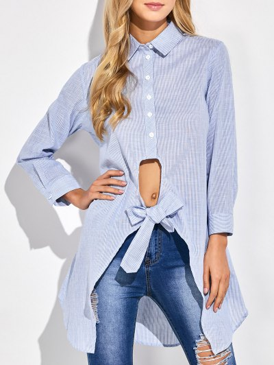 Striped Knotted Long Shirt - STRIPE 2XL Mobile