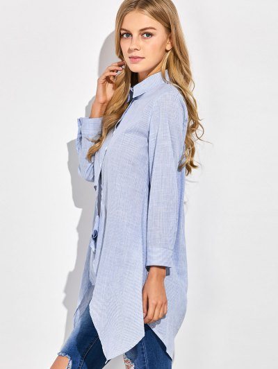 Striped Knotted Long Shirt - STRIPE XL Mobile