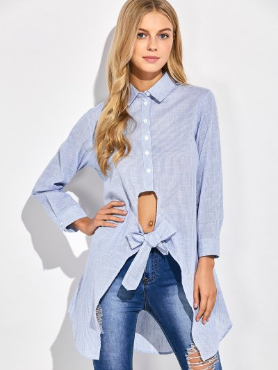 Striped Knotted Long Shirt - STRIPE S Mobile