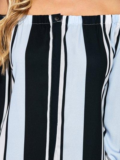 Vertical Stripe Off The Shoulder Maxi Dress - COLORMIX M Mobile