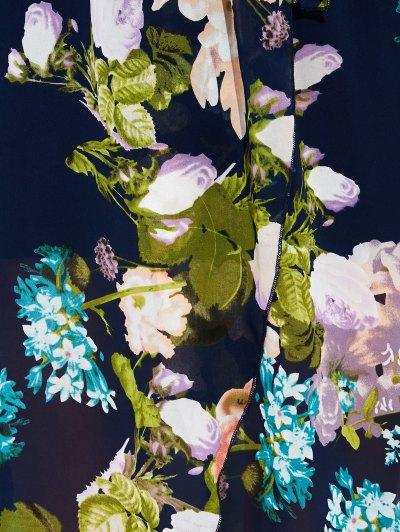 Floral V Neck Asymmetric Surplice Maxi Dress - FLORAL XL Mobile