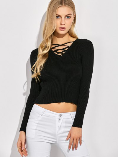 Ribbed Lace Up Jumper - BLACK L Mobile