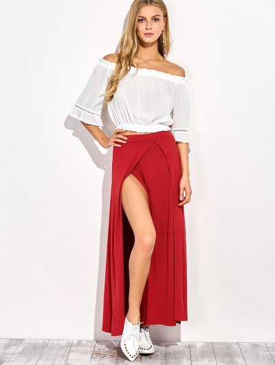 Double Split Maxi Skirt - RED 2XL Mobile