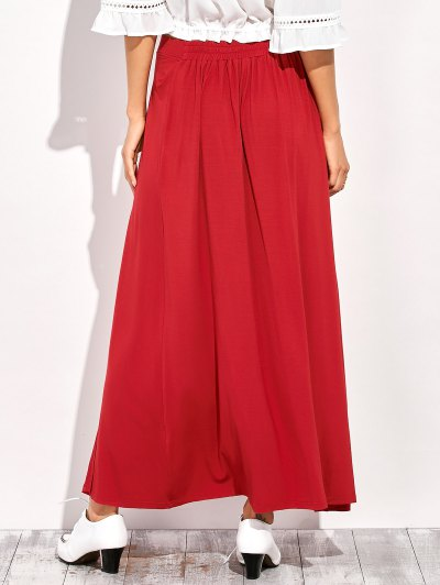 Double Split Maxi Skirt - RED L Mobile
