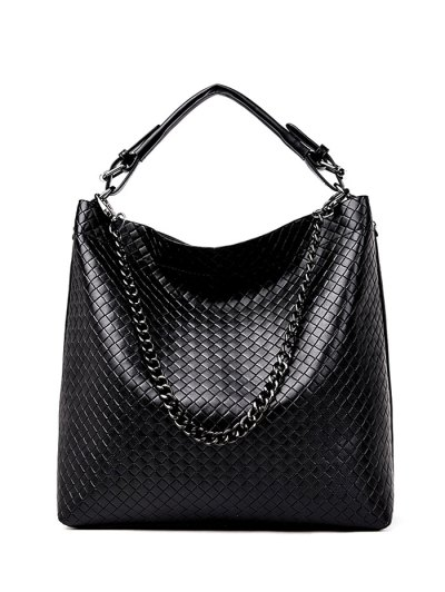 Argyle Double Buckle Chain Tote Bag - BLACK  Mobile