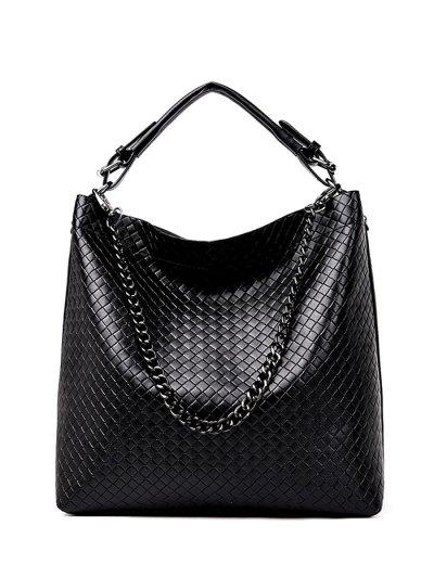 Argyle Double Buckle Chain Tote Bag - BLACK  Mobile